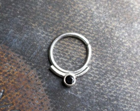 Handmade Sterling Silver and Black Spinel Septum Ring | Body Jewelry
