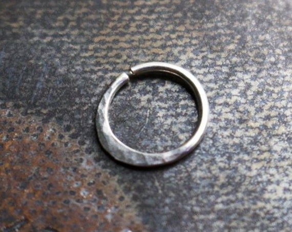 Handmade Sterling Silver Hammered Septum or Cartilage Ring | Body Jewelry