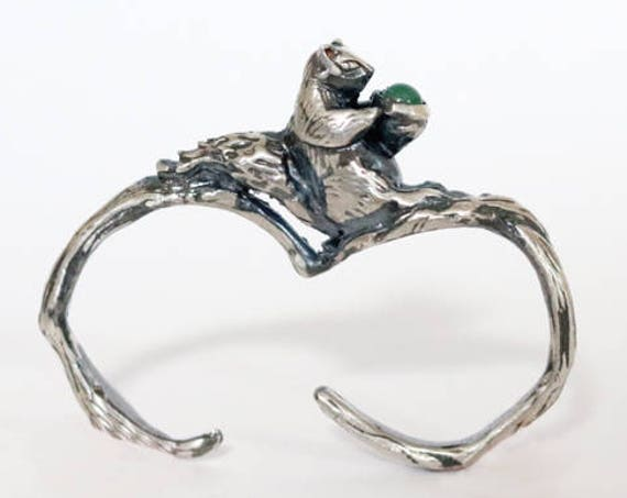 Sterling Silver Two finger Squirrel Ring, with gemstone | handmade jewelry