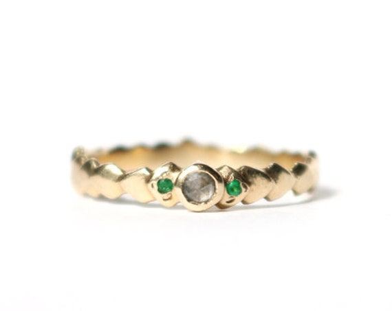 Scale Ring with Gray Diamond and Emerald in 14k Yellow Gold
