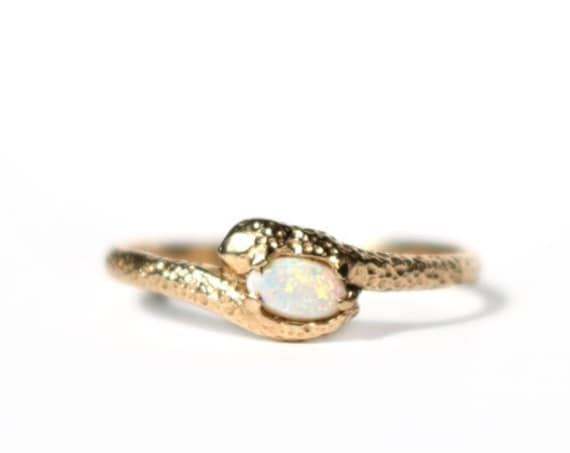 14k Gold and AAA grade White Opal Ring