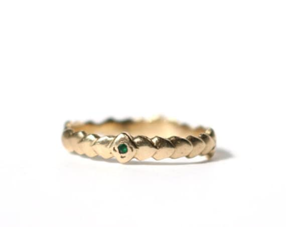 Scale Band in 14k Yellow Gold with 2 Emeralds