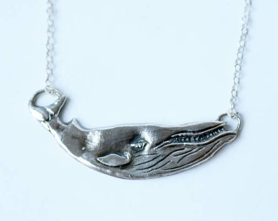 Silver Humpback Whale Necklace | handmade jewelry
