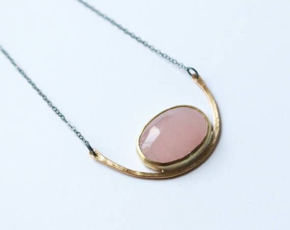 Necklace   Hammered Brass and Rose Quartz Pendant, handmade jewelry