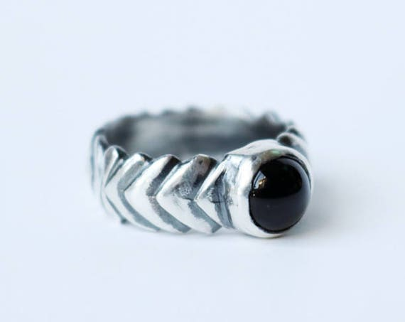 Onyx Unisex Ring in Silver or Brass | handmade jewelry