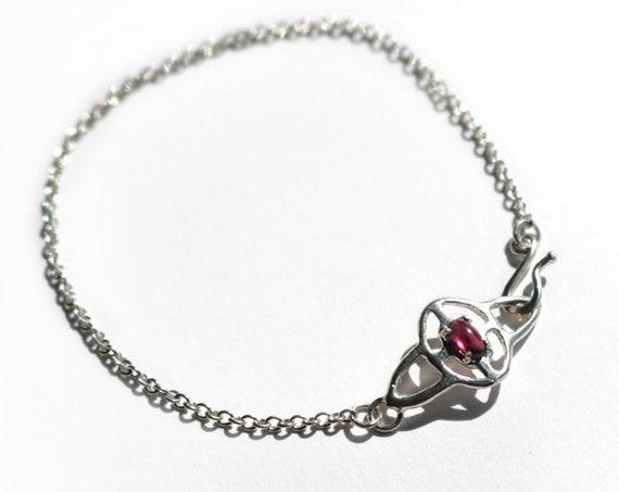 Silver and Rhodolite Garnet Ripple Bracelet
