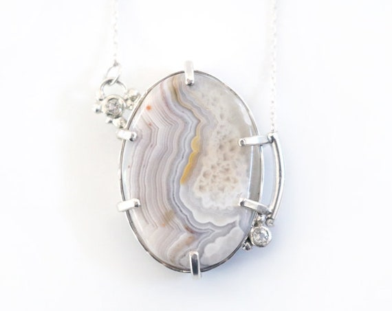 One of a Kind Sterling Silver and Agate Cloud Necklace