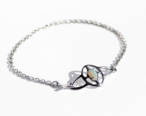 Silver and Opal Ripple Bracelet