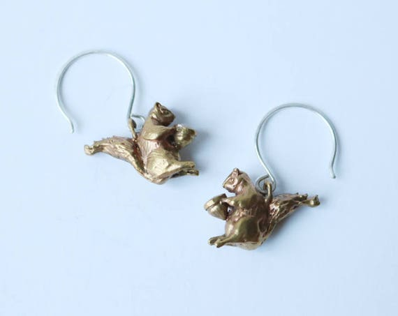 Brass Squirrel Earrings | handmade jewelry
