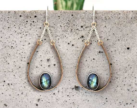 Brass and Silver Labradorite Teardrop Chandelier Earrings