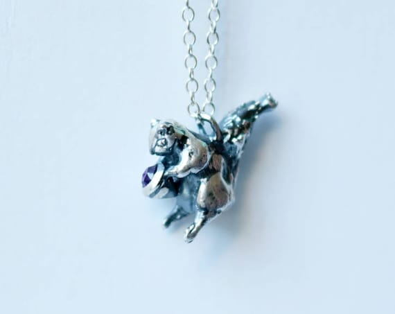 Silver and Amethyst Squirrel Necklace | handmade jewelry