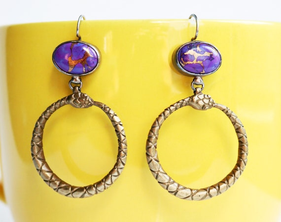 Handmade Purple Turquoise, Brass, and Silver Ouroboros Statement Earrings