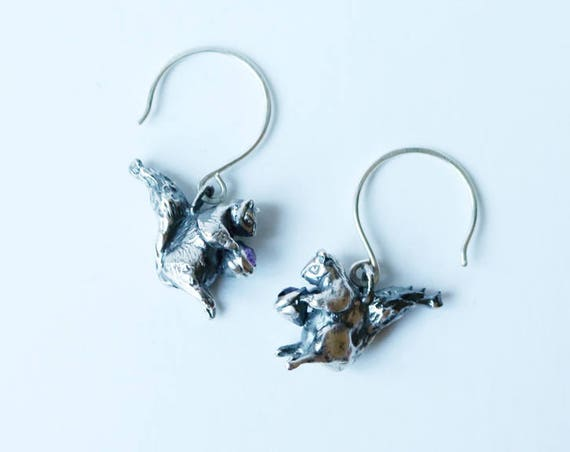 Silver and Amethyst Squirrel Earrings | handmade jewelry