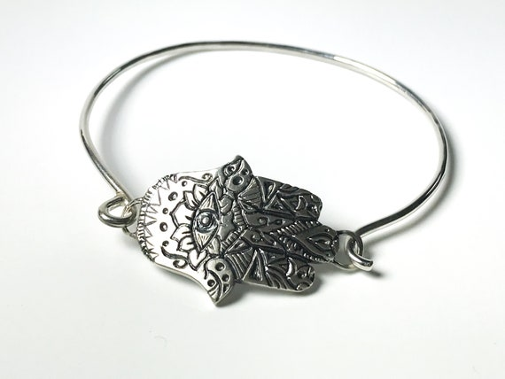 Sterling Silver Hamsa Bangle