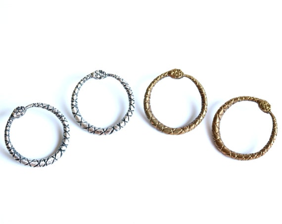 Handmade Ouroboros Circle Stud Earrings in Brass with silver posts or Sterling Silver