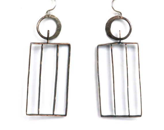 Handmade Brass and Silver Mixed Metal Cage Earrings