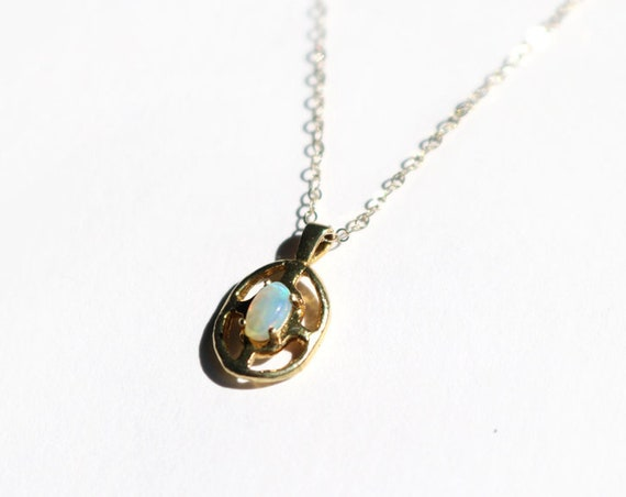 Brass and Opal Ripple Pendant on Gold Fill Chain