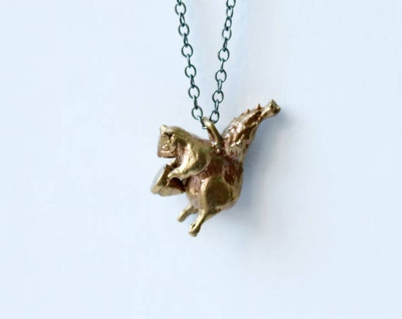 Brass and Silver Squirrel Necklace | handmade jewelry