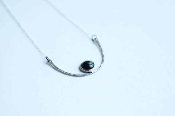 Silver and Onyx Horizon Necklace