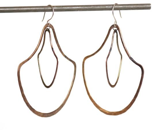 Handmade Brass Double Door knocker Earrings- Large