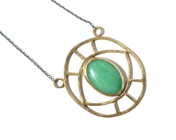 Handmade Evil Eye Necklace | Brass, Aventurine, Rose Quartz