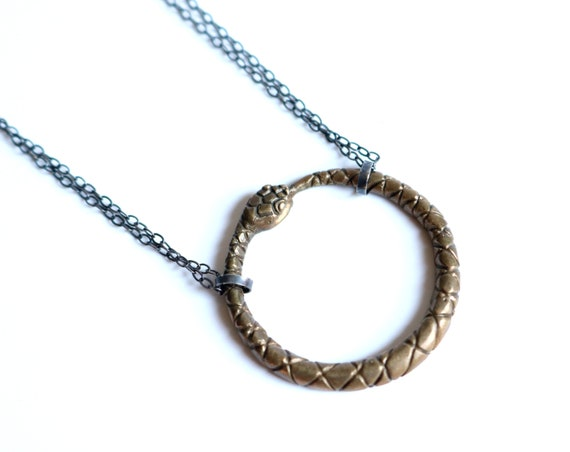 Handmade Unisex Ouroboros Necklace in Brass with Ox silver chain or Sterling Silver