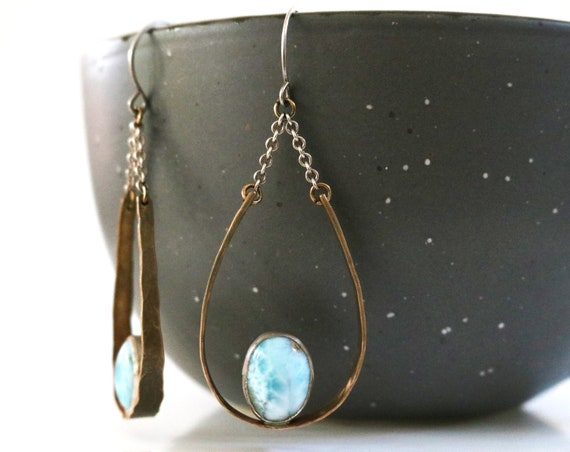 Brass and Silver Larimar Teardrop Chandelier Earrings