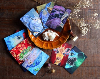 Art Postcards | Create your own set of 8 animal cards, animal prints