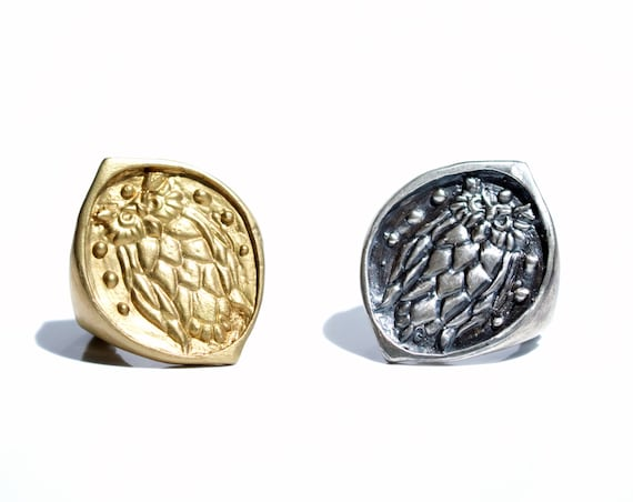 Handmade Night Owl Wax Seal Ring in Brass or Sterling Silver