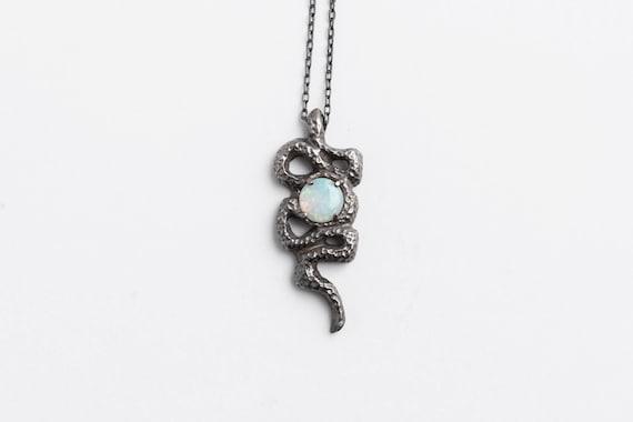 50% OFF SALE Opal Snake Necklace   Handmade Jewelry