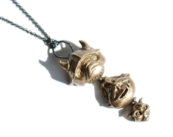 Three Heads are Better Than One Necklace | Handmade Goblin Jewelry | Labyrinth Jewelry | Topaz Eyes