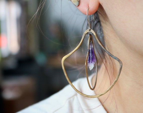 Handmade Brass and Amethyst Double Door knocker Earrings