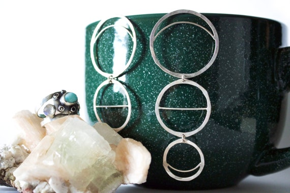 Handmade Silver Moon phase Earrings