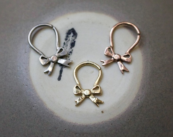 Handmade Bow Septum Ring in Sterling Silver, 14k yellow gold, 14k rose gold