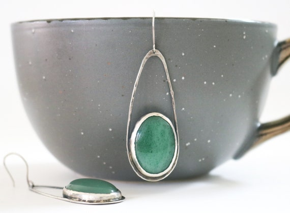Silver and Aventurine Raindrop Earrings