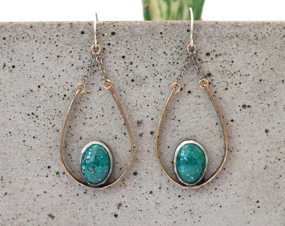 One of a Kind Brass and Silver Jasper Teardrop Chandelier Earrings
