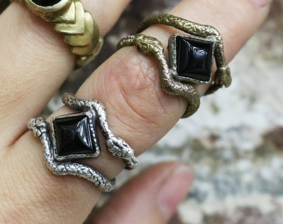 Handmade Double Ouroboros Snake Ring with Onyx in Brass or Silver