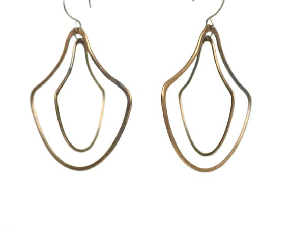 Handmade Brass Double Door knocker Earrings