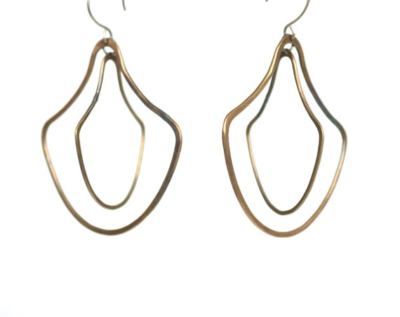 Handmade Brass Double Door knocker Earrings