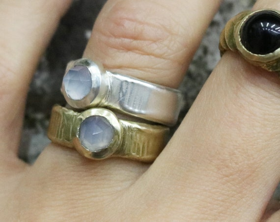 Handmade Chalcedony Ring in Brass or Silver
