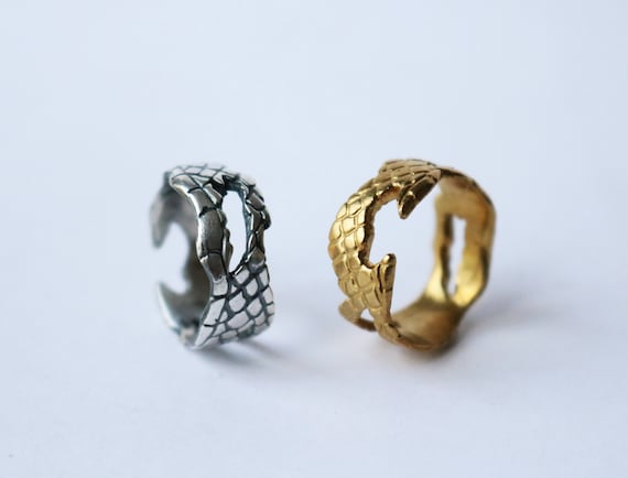 Ring | Snake Skin Ring, silver or brass, handmade jewelry