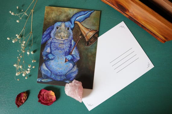 Art Postcard | Blue Rabbit Postcard 'All Ears,' animal prints