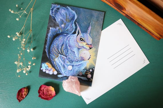 Art Postcard | Squirrel with Treasure Postcard, animal prints