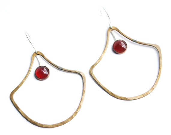 Handmade Brass and Carnelian Door knocker Earrings