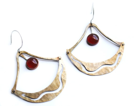 Handmade Brass and Carnelian Snake Silhouette Earrings