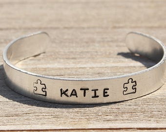 AUTISM AWARENESS ID Bracelet - Autism Puzzle Piece - Autism Mom - Personalized Stamped Metal Bangle - One Size Fits All