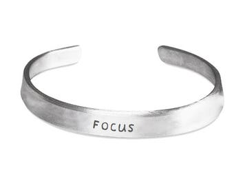 FOCUS - ID Bracelet - Inspirational Jewelry - Motivational Gift - Stamped Metal Bangle - One Size Fits All