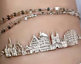 Sterling silver bracelet Barcelona Bracelet travel jewelry mom gift bracelet personalized jewelry Gold Bar Bracelet Personalized Jewelry