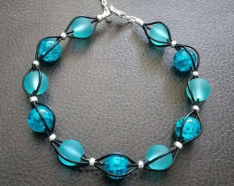Handmade leather bracelet with ocean blue beads
