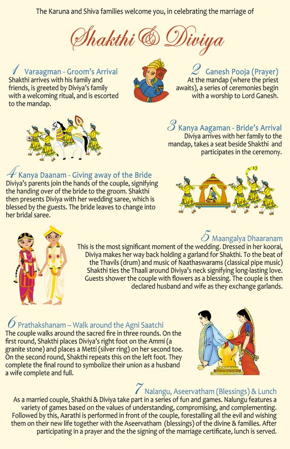 Simplified Tamil Indian Hindu Wedding Program Template